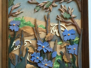 "Meadowood by JoAnn VanDeCarr: ""Wild Life"", carved wood-layered landscape with acrylic highlights"