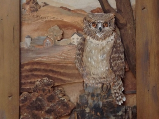 """Meadowood by JoAnn VanDeCarr: """"Watcher"""", carved wood-layered landscape with acrylic highlights"""