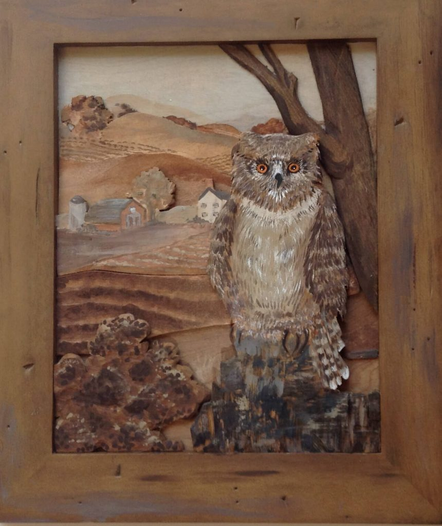 "Meadowood by JoAnn VanDeCarr: ""Watcher"", carved wood-layered landscape with acrylic highlights"