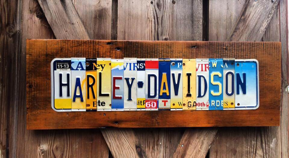 State Plate Signs by Mike Bender, Harley Davidson, license plates, upcycled license plates, license plate art