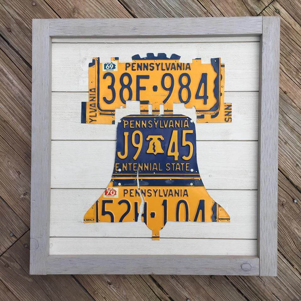 State Plate Signs by Mike Bender, liberty bell, Pennsylvania, license plates, upcycled license plates, license plate art