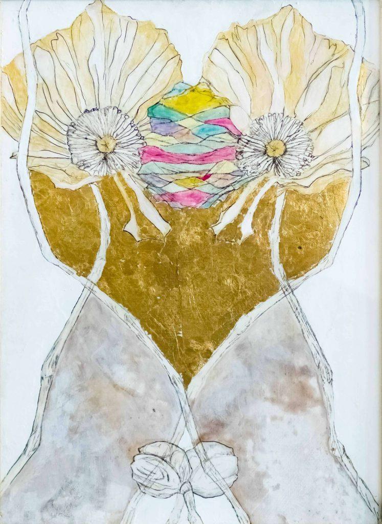 Sculptlerybones by Kiki & Marc Lamuniere, conjoined poppy's, handmade painting, mixed media