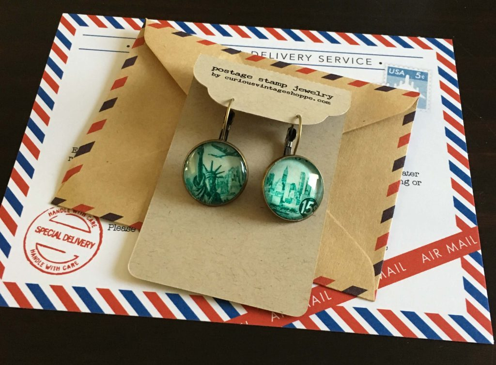 Curious Vintage Shoppe by Erica Everett, handmade jewelry from vintage postage stamps