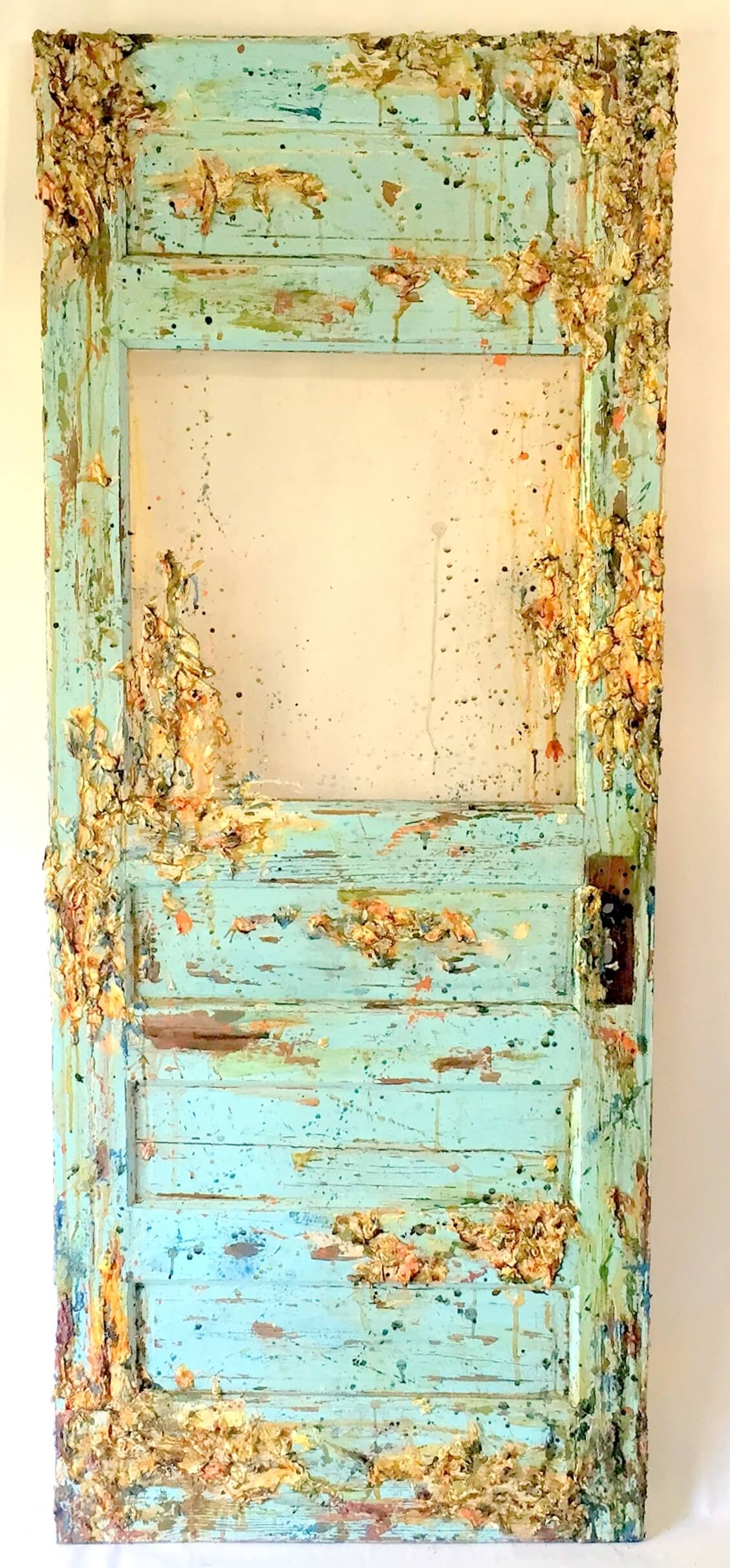 "Kimberlie Dykeman: ""Sky of Portia"", mixed media, kimberlie on fire, repurposed wood, expressionism"