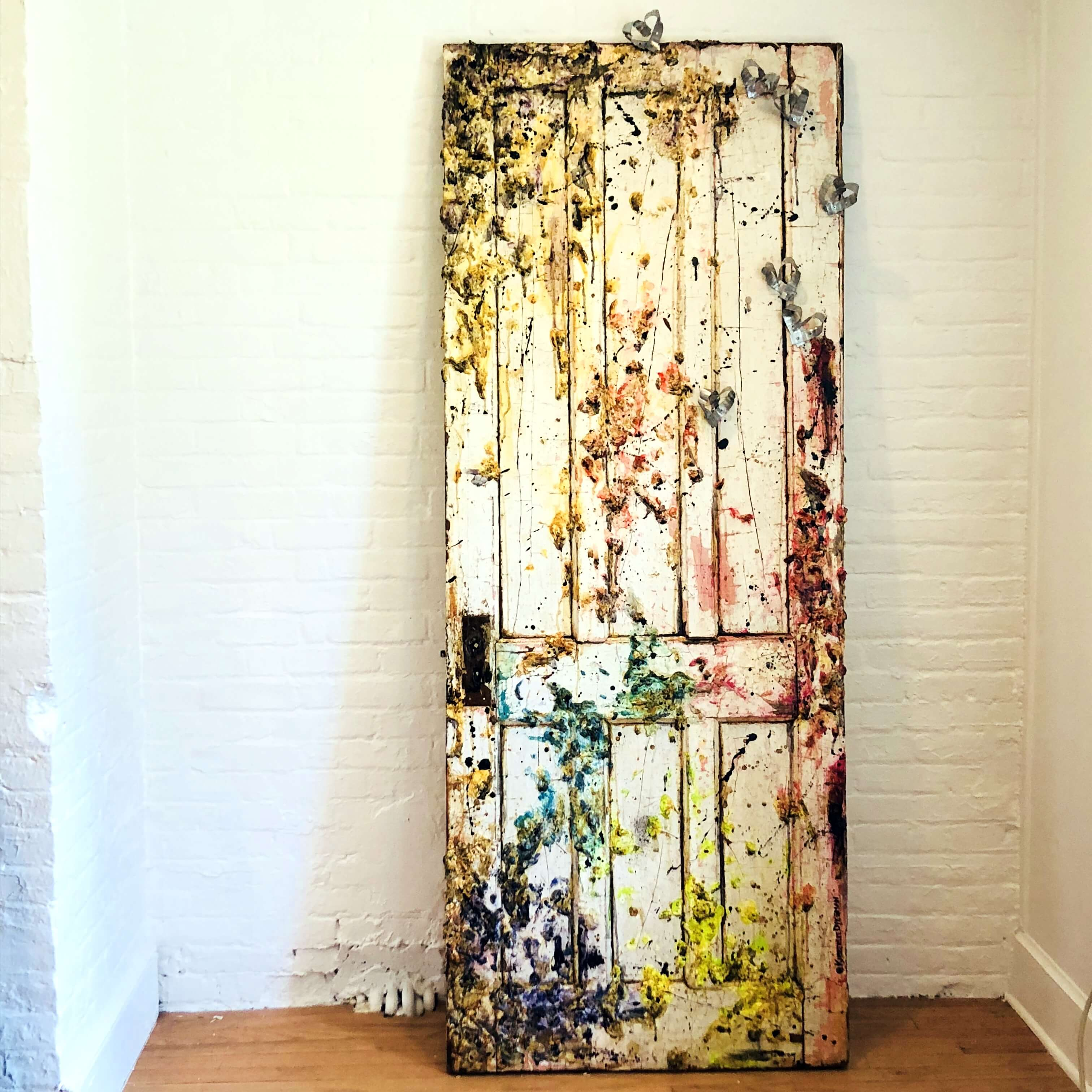 """Kimberlie Dykeman: """"Surprised by JOY/Death By Unicorn"""", mixed media, kimberlie on fire, repurposed wood, expressionism"""