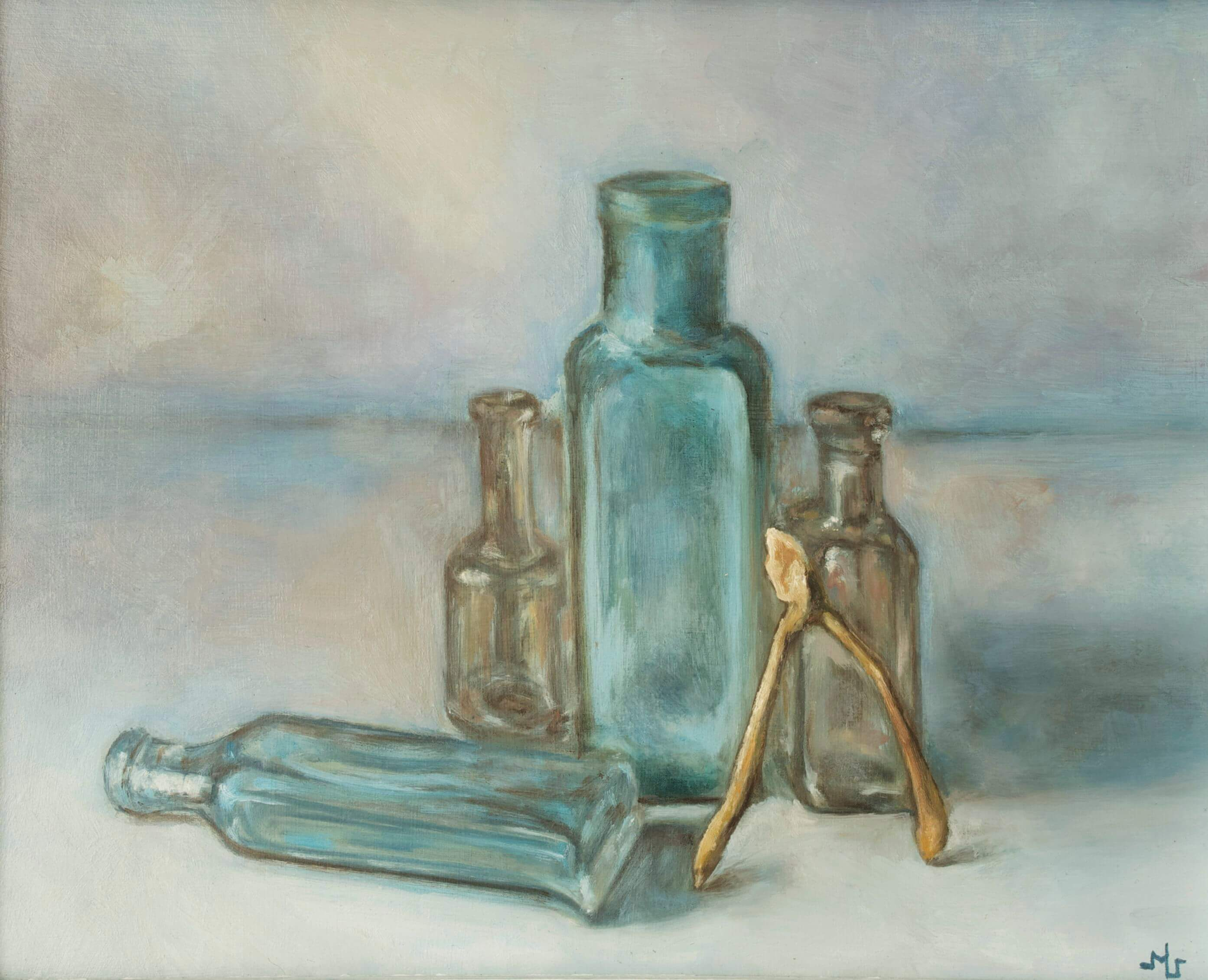 Sculptlerybones by Kiki & Marc Lamuniere, four bottles and a wish, handmade painting, mixed media