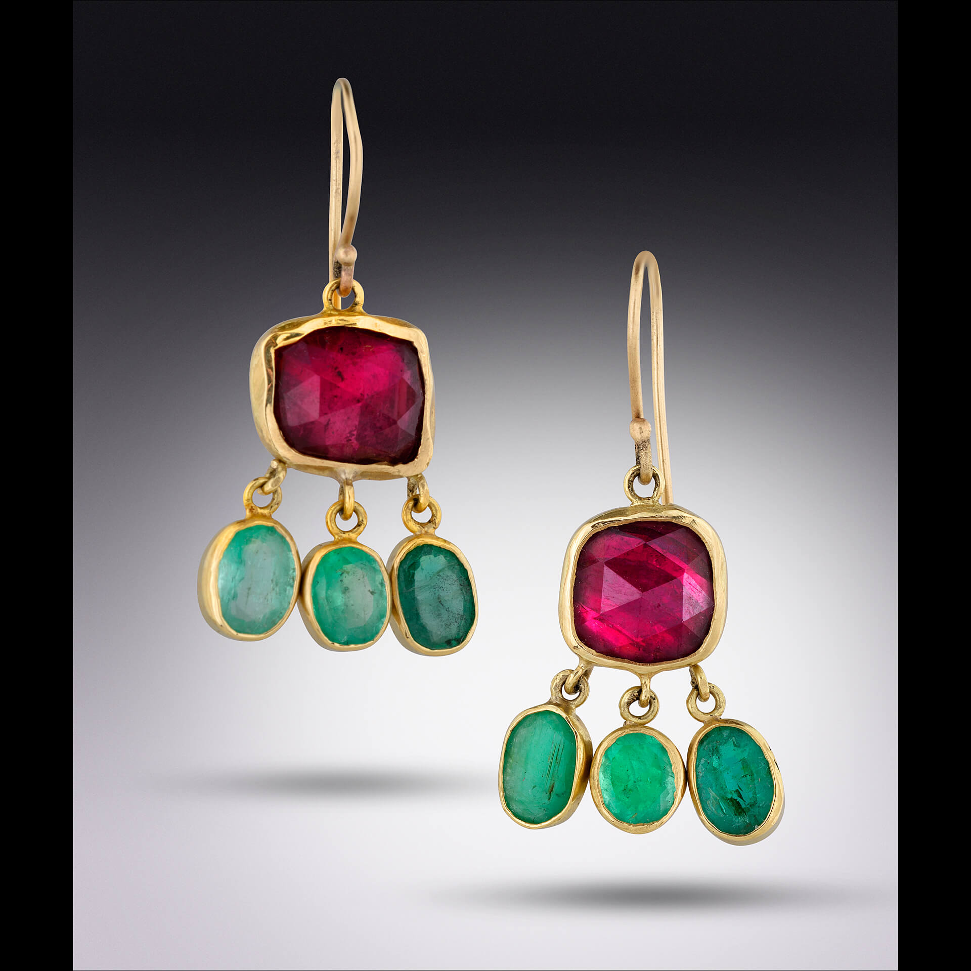 Lori Kaplan Jewelry: Rubellite and Emerald Earrings